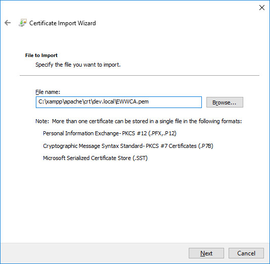 Cert File to Import