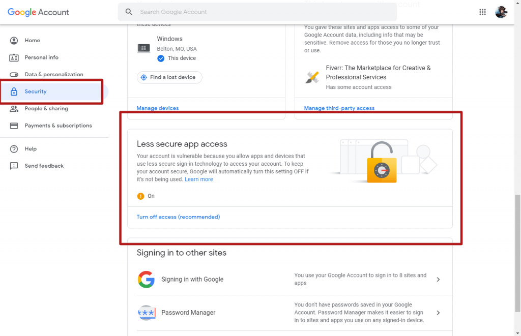 google less secure app access
